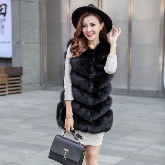 FURGAZI V Shape Faux Fur Vest