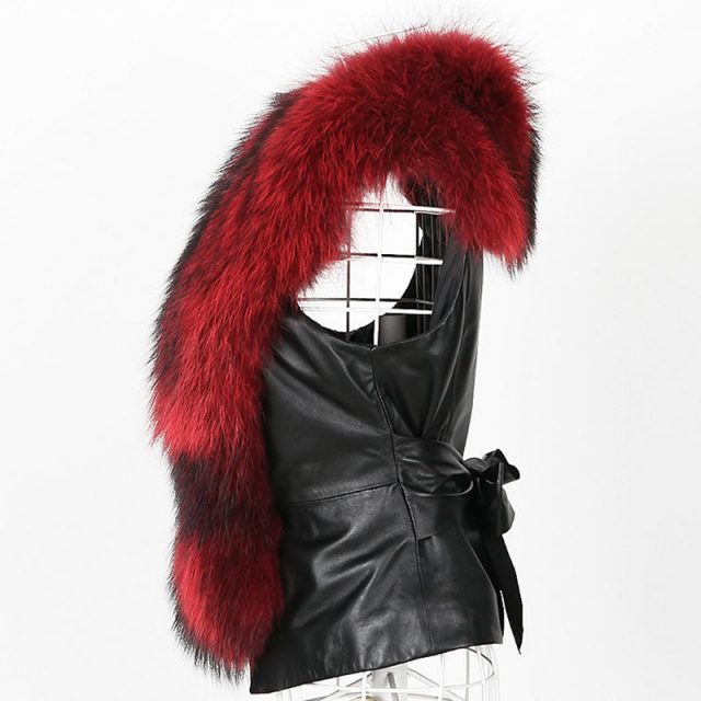 FURGAZI PU Leather Faux Fur Vest