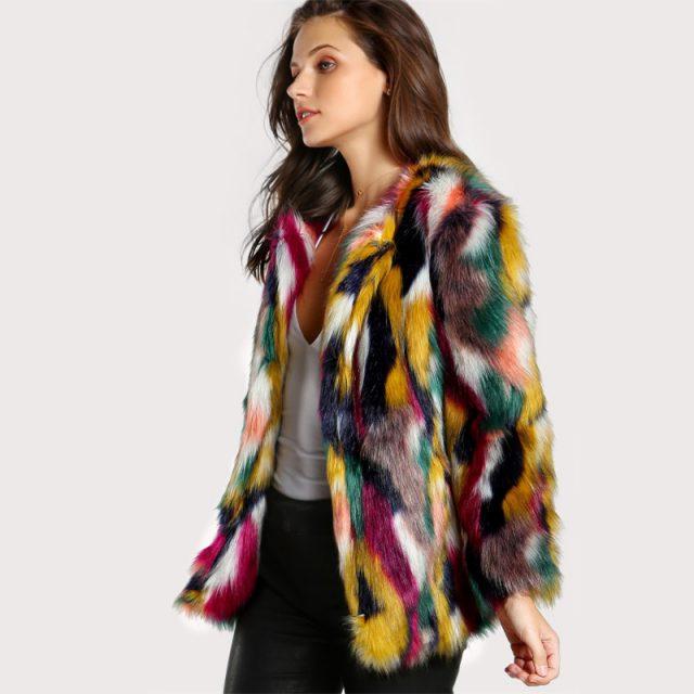 FURGAZI Multicolor Faux Fur Coat