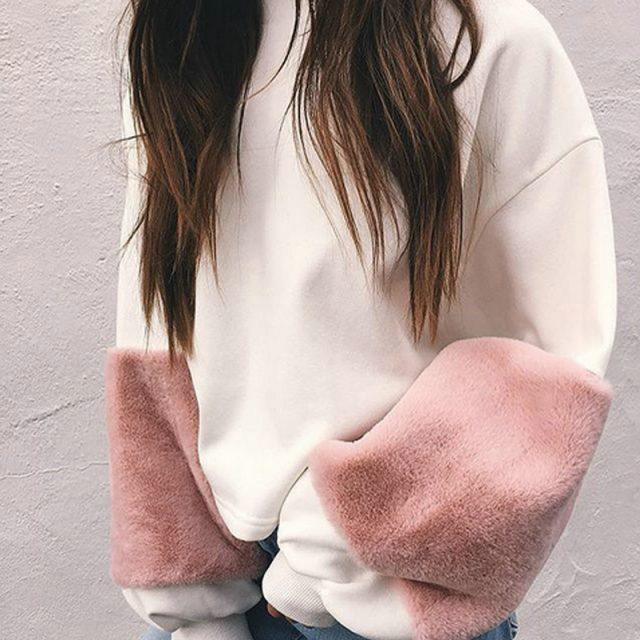 FURGAZI Pink Patchwork Faux Fur Sweater