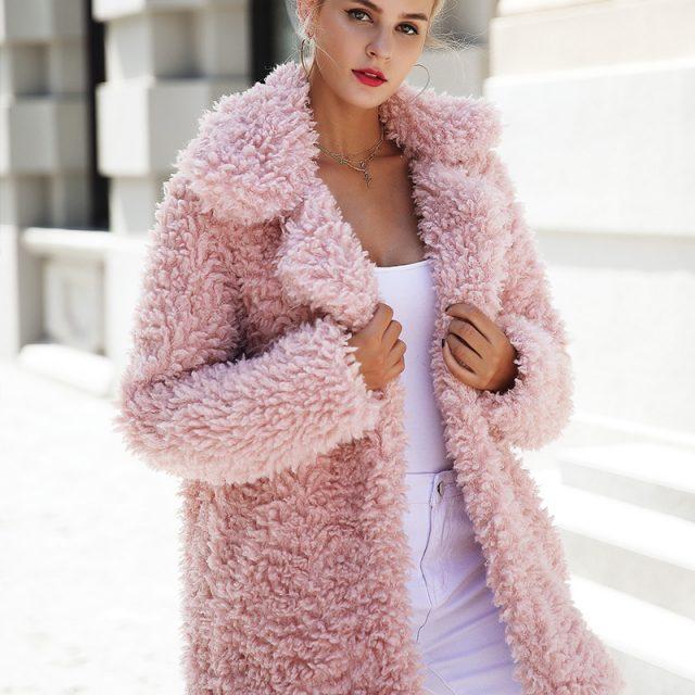 FURGAZI Pink Faux Fur Coat