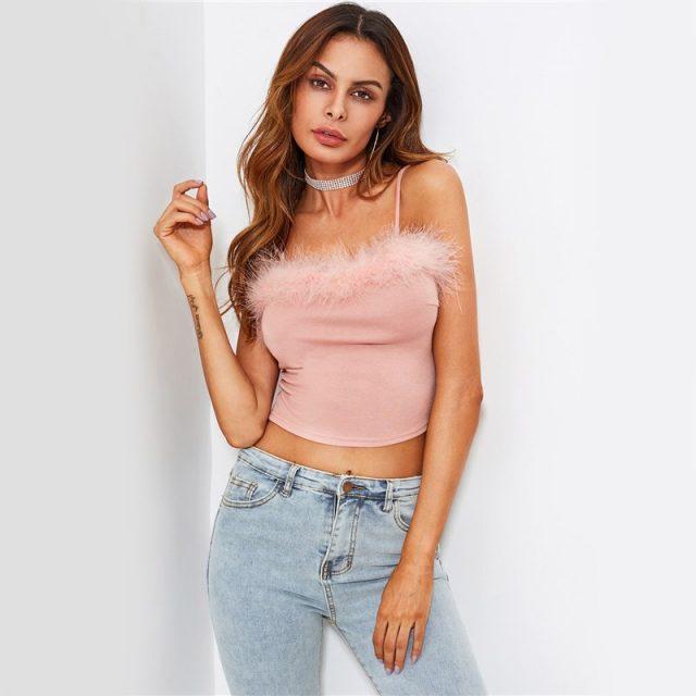 FURGAZI Pink Faux Fur Crop Top