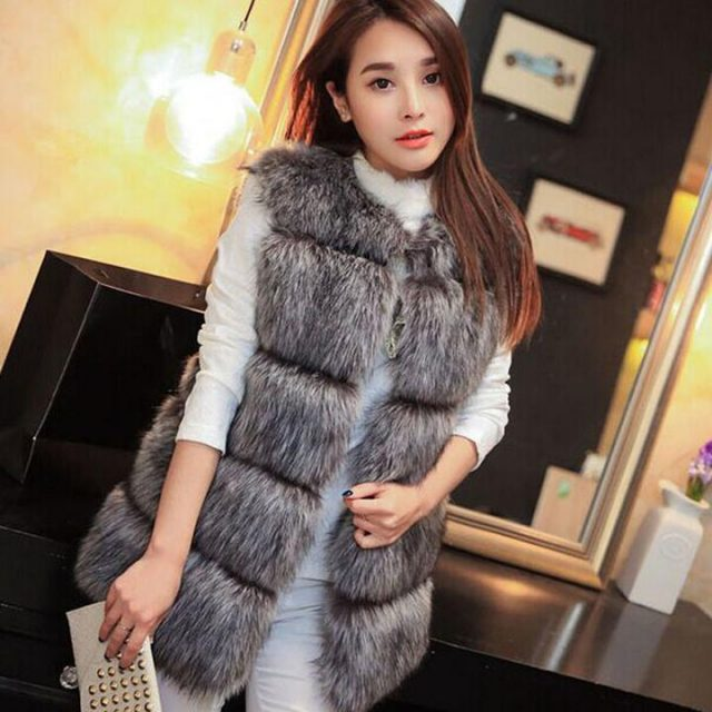 FURGAZI Wide Strips Faux Fur Vest