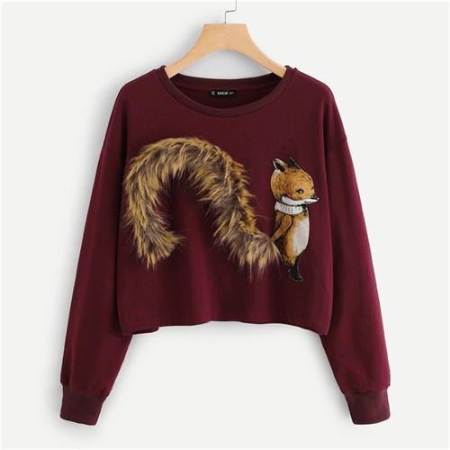 FURGAZI Fox Patch Faux Fur Sweater