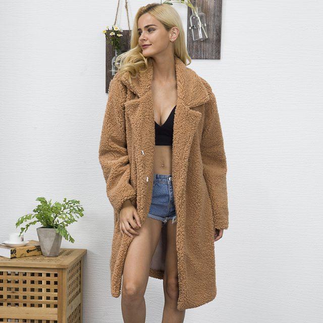 FURGAZI Long Faux Fur Teddy Coat