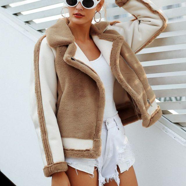FURGAZI Plush Faux Fur Coat