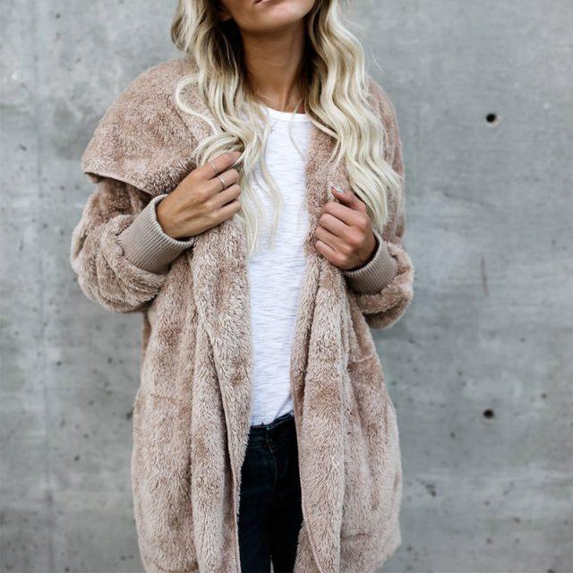 FURGAZI Hooded Faux Fur Teddy Coat
