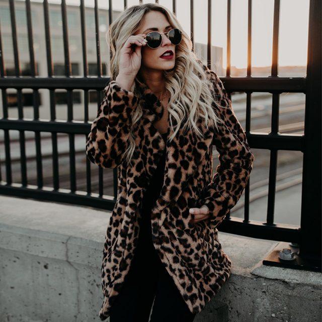 FURGAZI Leopard Print Faux Fur Coat