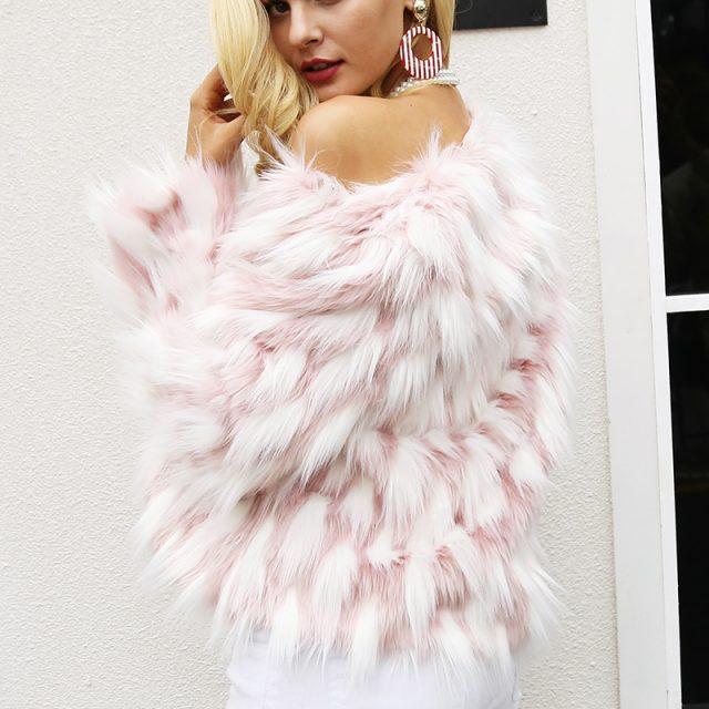 FURGAZI Pink Chic Faux Fur Coat