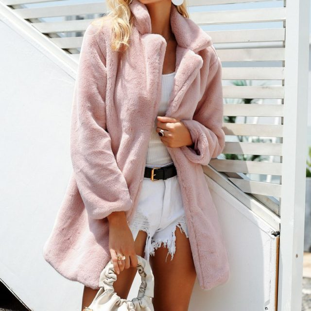 FURGAZI Elegant Faux Fur Teddy Coat
