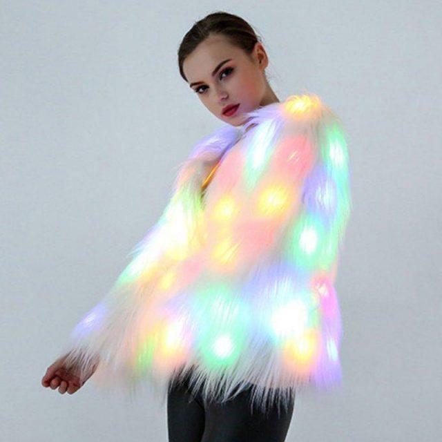 FURGAZI Festive Light Faux Fur Coat