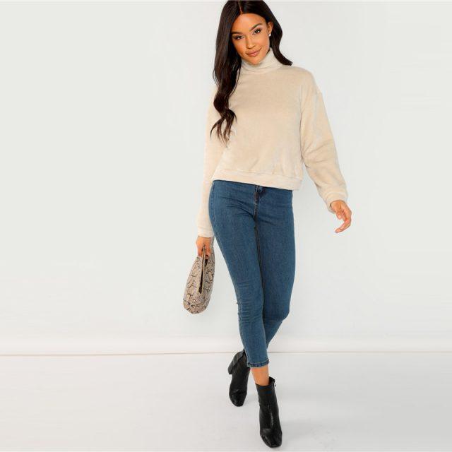 FURGAZI Beige Faux Fur Sweater