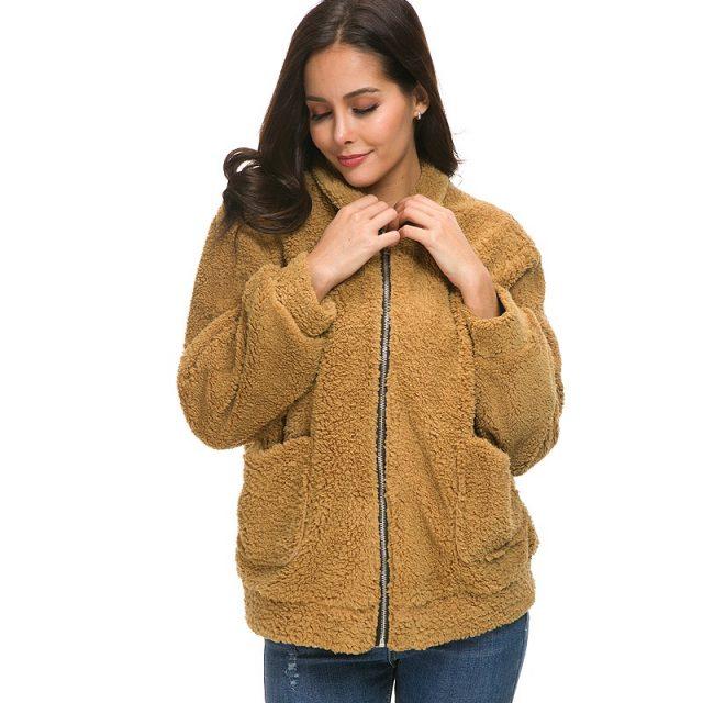 FURGAZI Camel Faux Fur Teddy Coat