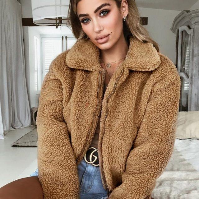 FURGAZI Zipper Faux Fur Coat