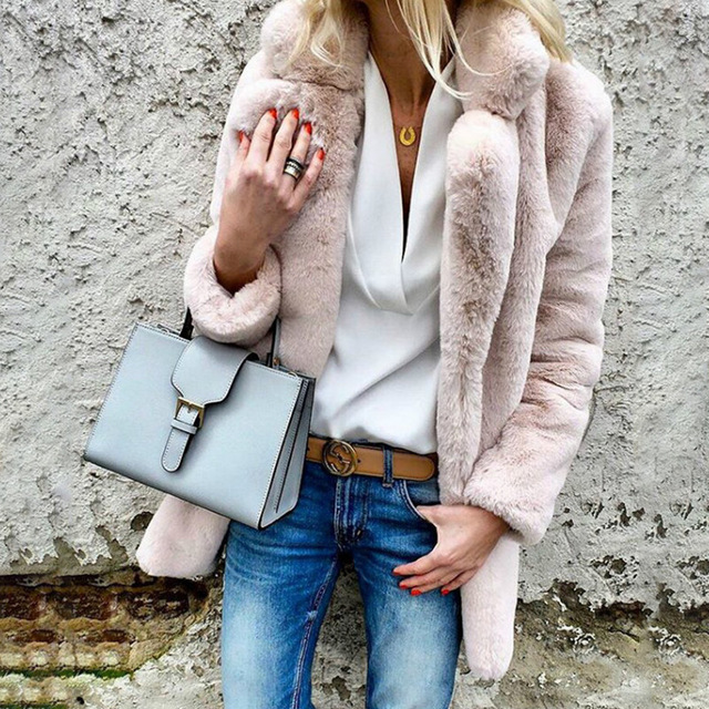 FURGAZI Casual Faux Fur Coat