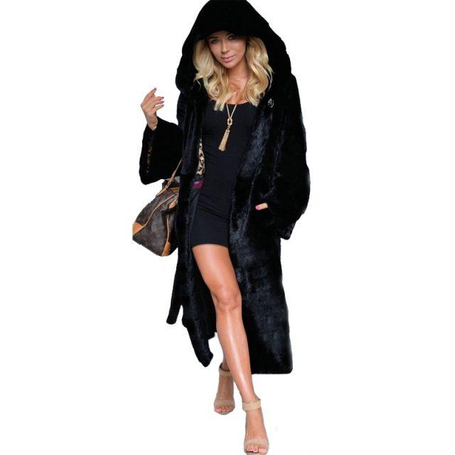 Fenghua Black Hooded Faux Fur Coat Women Winter Faux Fox Fur Long Jacket Female 2019 Fashion Plus Size Coats Warm Overcoat 4XL