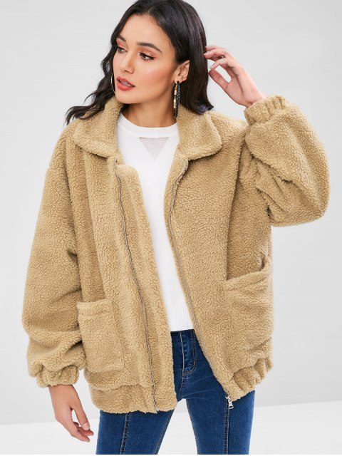 FURGAZI Solid Faux Fur Coat
