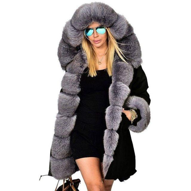 Ruiyige 2018 New Fashion Winter Jacket Women Warm Coat Faux Fur Cotton Fleece Overcoat Female Long Hooded Coats Parkas Hoodies