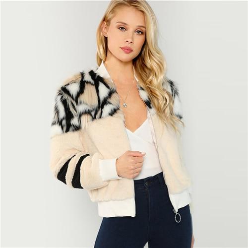SHEIN Multicolor O-Ring Zip Up Faux Fur Coat Casual Stand Collar Long Sleeve Highstreet Outerwear Women Winter Short Coats