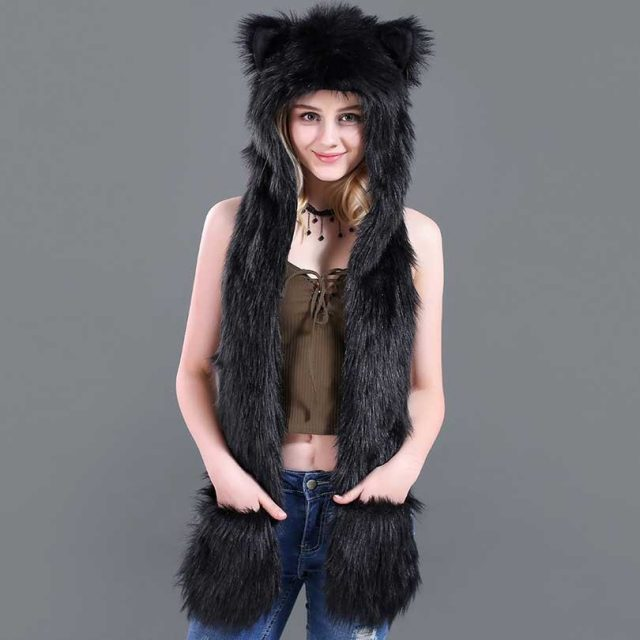 FURGAZI Animal Style Faux Fur Hat + Gloves