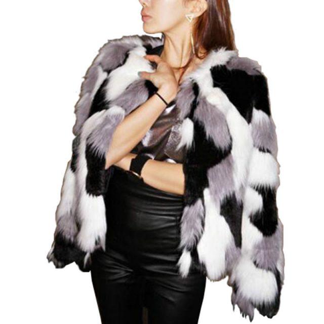 FURGAZI Mixed Color Faux Fur Coat