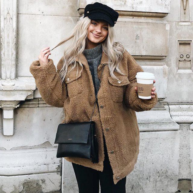 FURGAZI Chest Pocket Faux Fur Coat