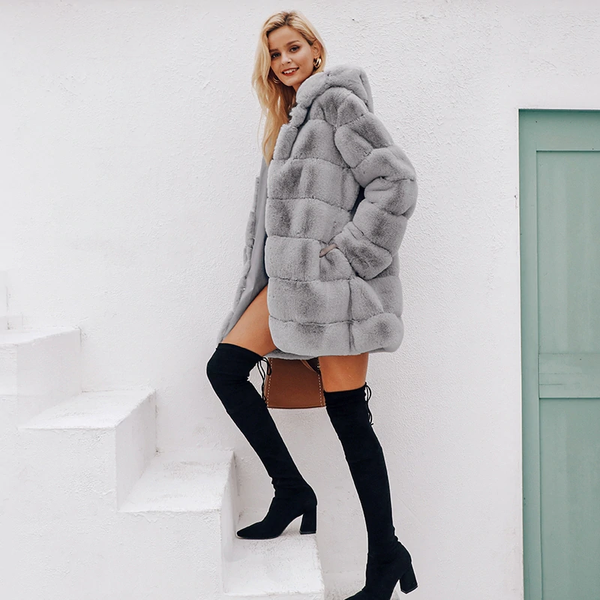 FURGAZI Hooded Faux Fur Coat