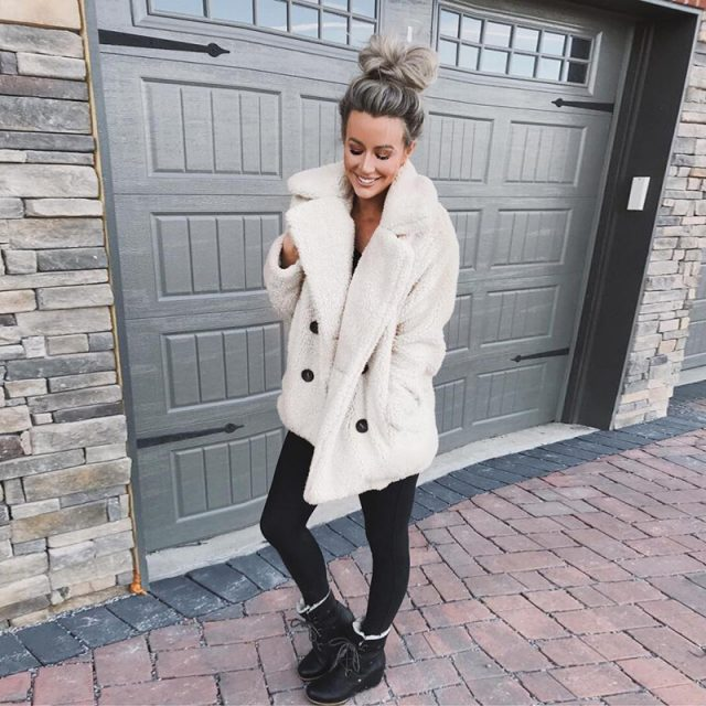 FURGAZI Buttons Faux Fur Teddy Coat
