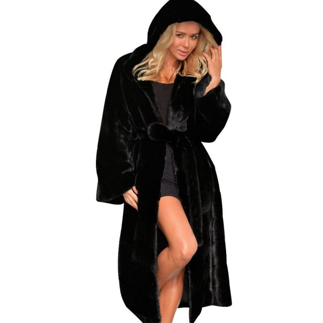 FURGAZI Black Hooded Faux Fur Coat