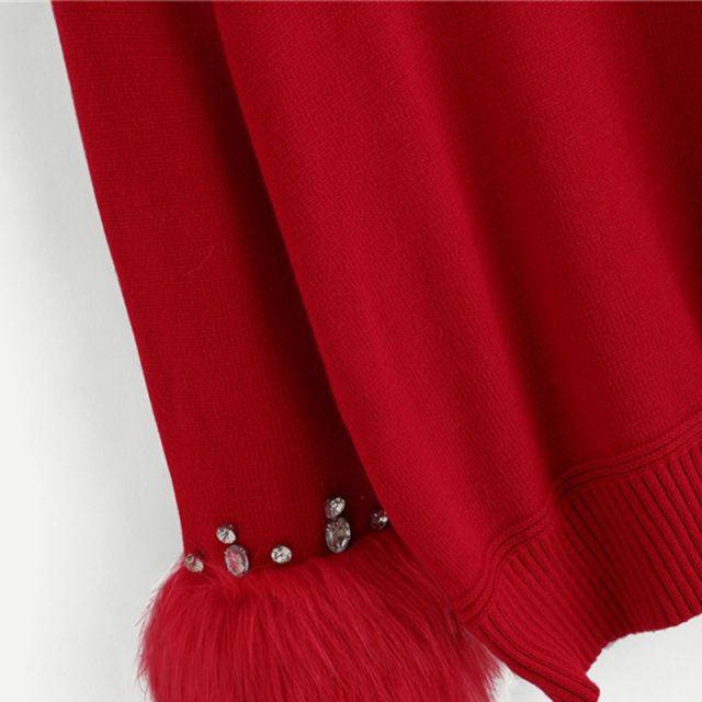 FURGAZI Rhinestone Faux Fur Sweater