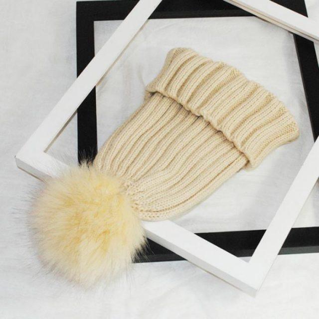 FURGAZI Detachable Ball Faux Fur Beanie
