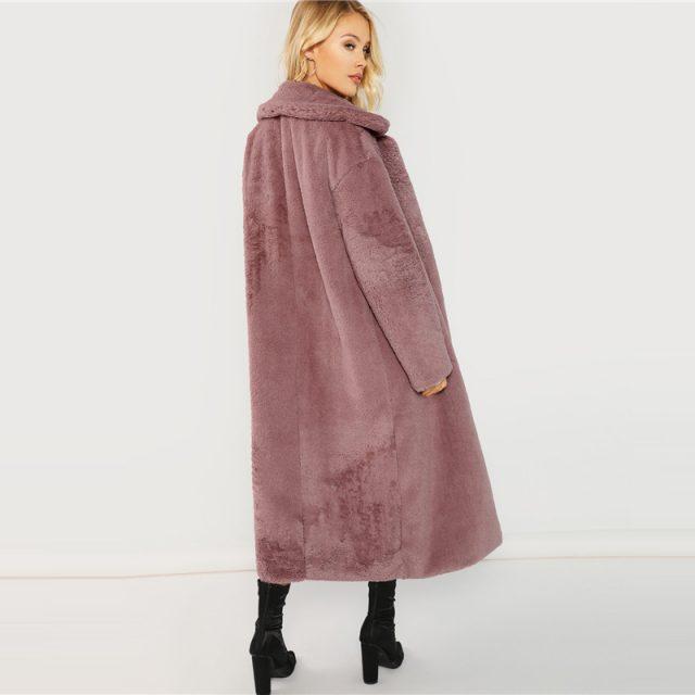 FURGAZI Open Front Faux Fur Teddy Coat