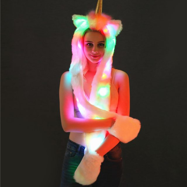 FURGAZI Glowing Unicorn Hat + Gloves