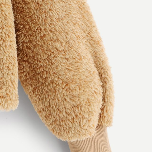 FURGAZI Camel Faux Fur Hoodie