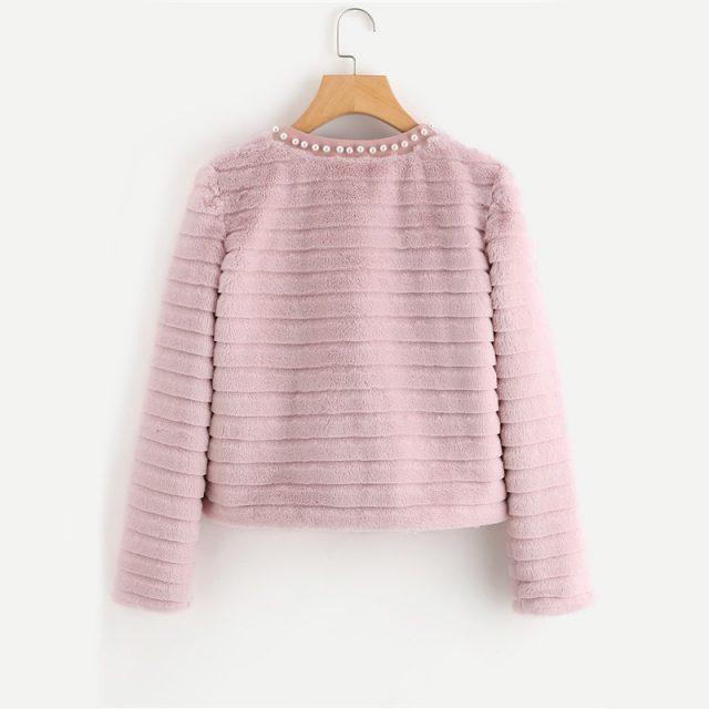 FURGAZI Pink Pearl Faux Fur Coat