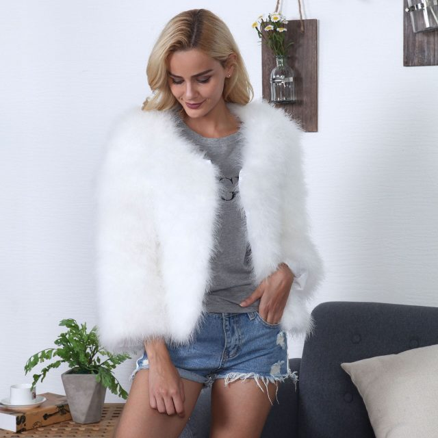 FURGAZI Long Sleeve Faux Fur Coat