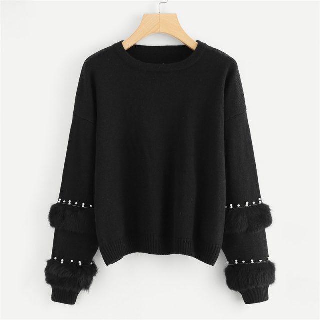 FURGAZI Pearl Beading Faux Fur Sweater