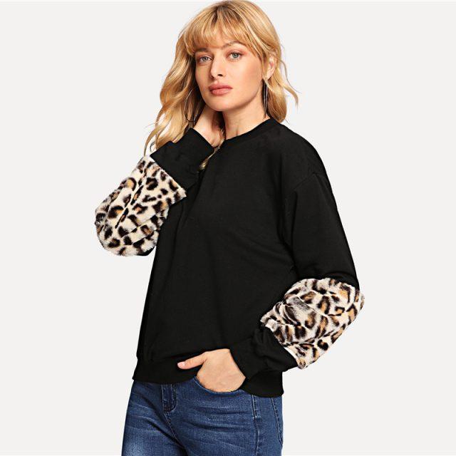 FURGAZI Leopard Print Faux Fur Sweater