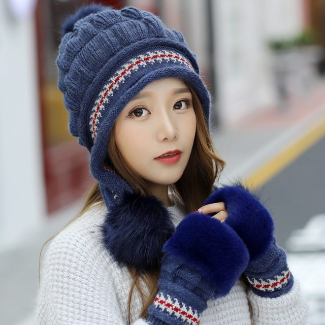 FURGAZI Faux Fur Beanie + Gloves