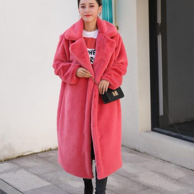 FURGAZI Long Faux Fur Coat