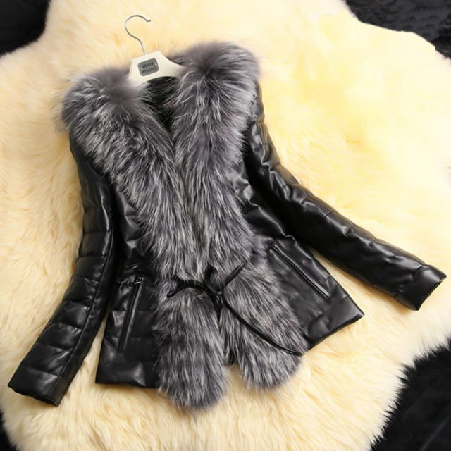 FURGAZI PU Leather Faux Fur Jacket