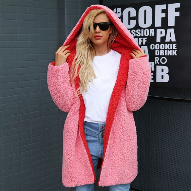 FURGAZI Dual Sides Faux Fur Coat