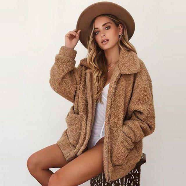 FURGAZI Casual Faux Fur Teddy Coat