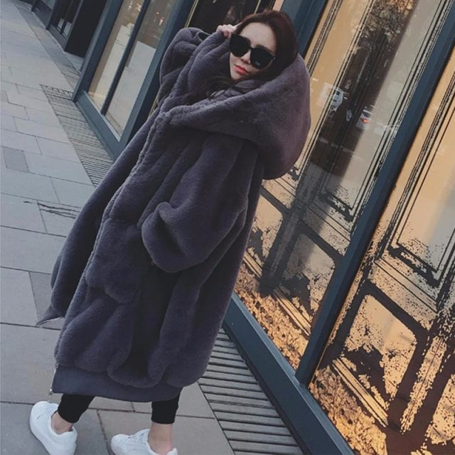 FURGAZI Large Size Faux Fur Coat