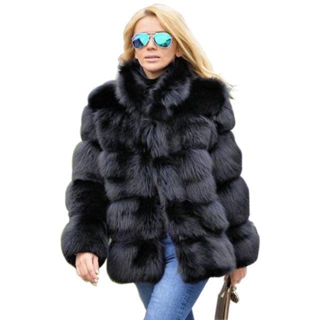 FURGAZI Collared Faux Fur Coat