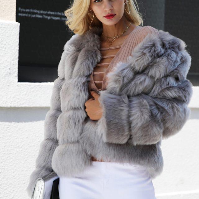 FURGAZI Vintage Faux Fur Coat