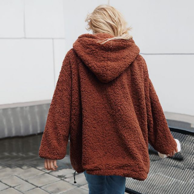 FURGAZI Front Pockets Faux Fur Hoodie